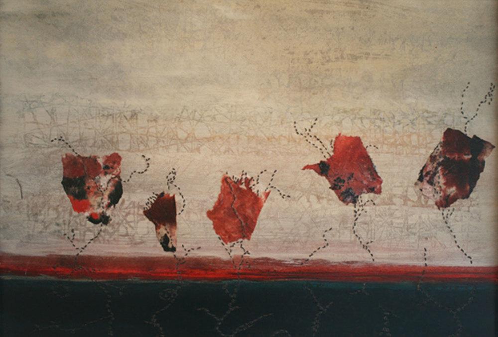 """Poppies.   44"""" x 30"""", 2013."""