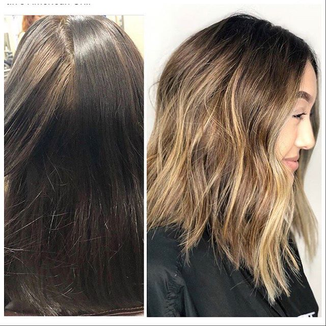 Before and after color correction by @hairbycrystal87  Her client had colored her hair with dark brown box color. This was done in a single session, in two stages.