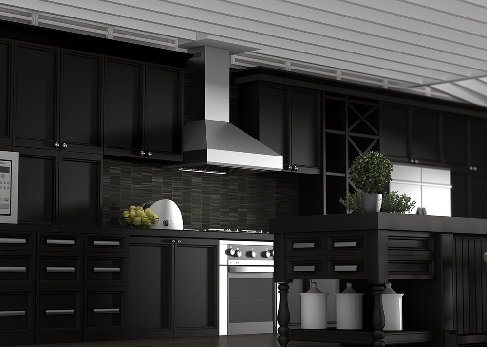 Black Kitchen Stainless Steel Hood