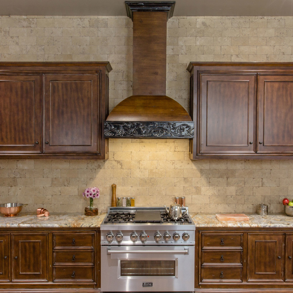 Zline Designer Wood Range Hood 393AR Kitchen 1.