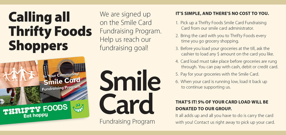Anyone can support our Centre simply by buying their groceries!   Email your mailing address to info (at) salishseacentre.org and we'll send you a card!