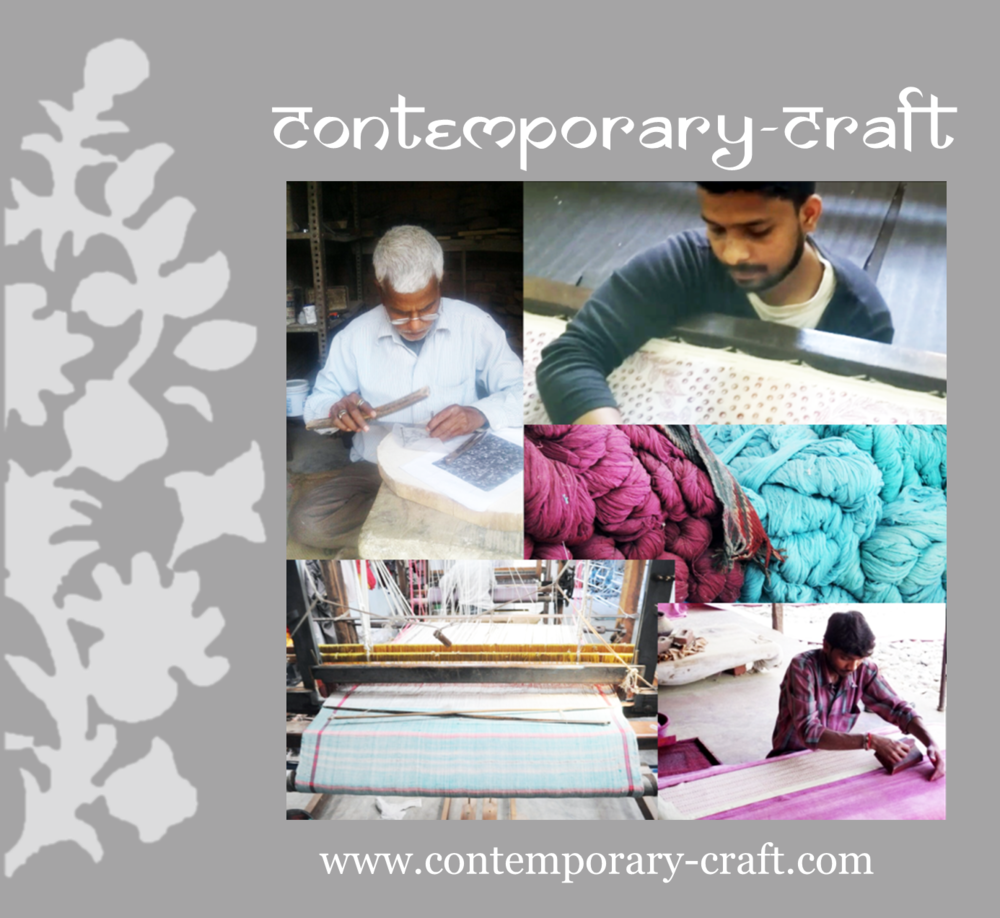 Contemporary-Crafts - Fabrics, Clothing and Accessories that use the art forms of hand block printing, eco-printing and weaving in India to a contemporary aesthetic, preserving the natural processes and handiwork. Website: http://contemporary-craft.com/