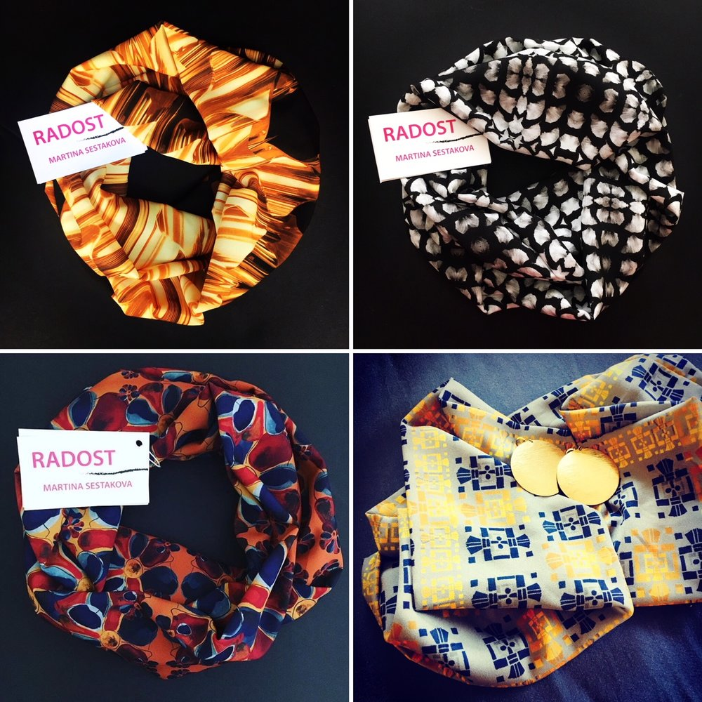 Radost, LLC - I am a textile designer/story teller. I use original artwork to design patterns that tell stories of rich life experiences. I turn my fabrics into scarves, bags, tops, and pillows. All of them have names and come with short stories of inspiration.https://www.radostbymartinasestakova.com/
