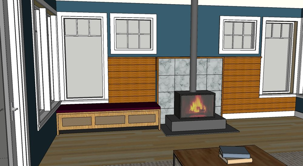 Sketchup model of Living Room wall work in progress.  Shiplap wall consists of douglas fir boards.  The bench serves as extra seating but will also hold speakers.