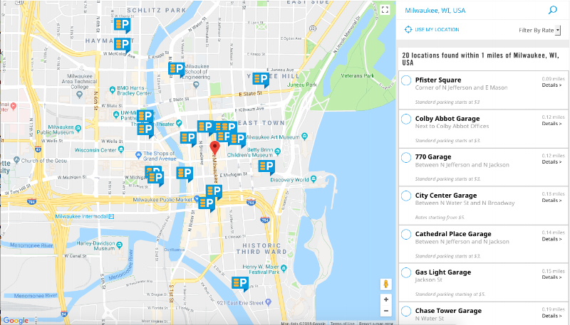 The Secure Parking Map displays parking locations as well as displays a side panel of results.