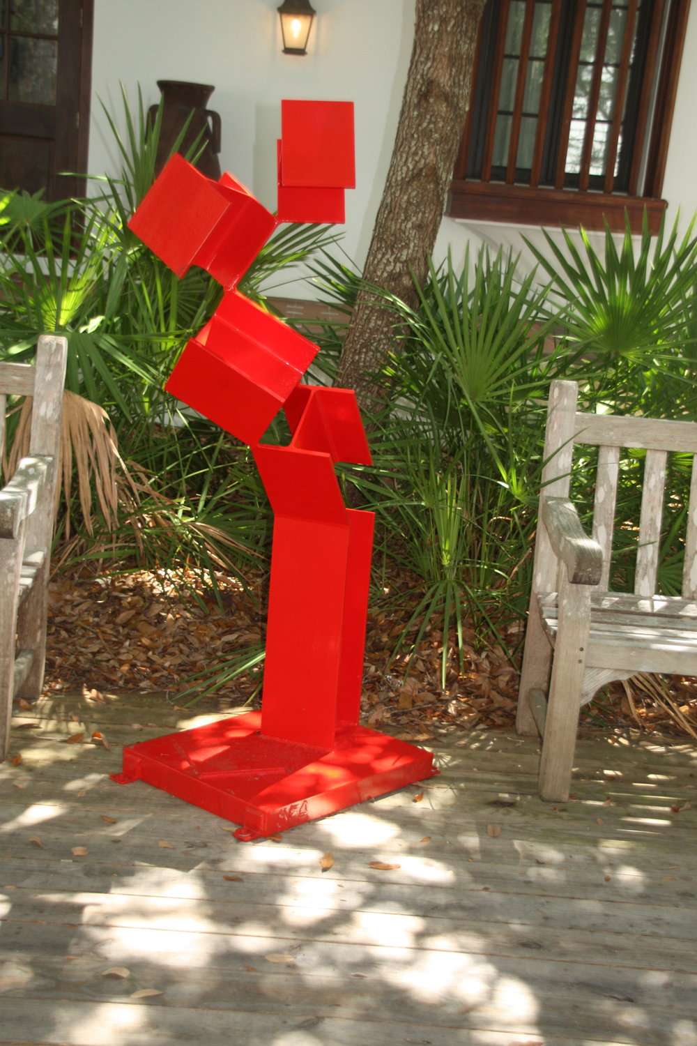 "Site 4 - Sydney Atkinson, b. 1946Monticello, FLSunbeam II, 2003Welded steel, painted66""x26""x24"" $5,500                                                                    ""Rigid beam represents strength, breaking and dancing upward, lyrical and vulnerable as it ascends."
