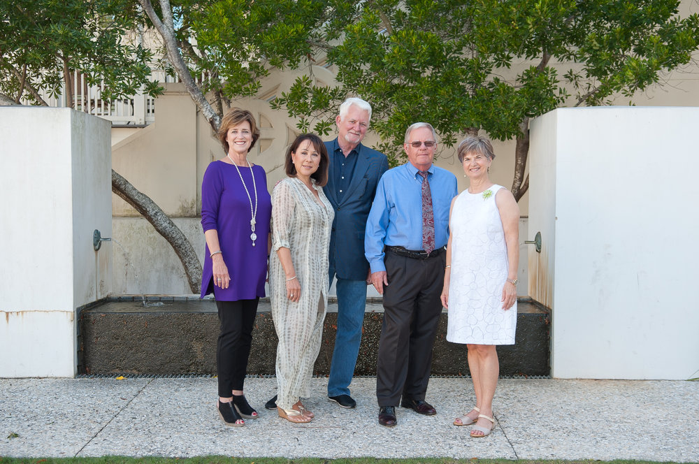 - Rosemary Beach Sculpture Exhibition Committee Members (left to right), Linda Gifford, Victoria Lee, Lawrence Pugh, Tom Kramer & Marsha Aldridge King. (Photo by Brandan Babineaux Photography.)