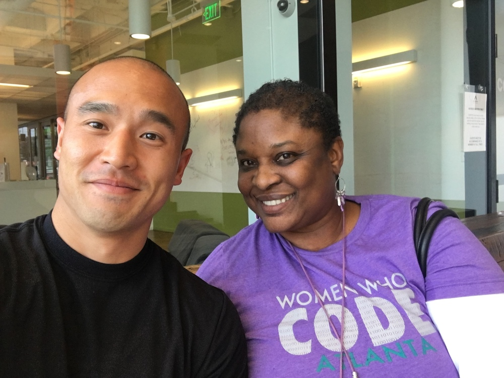 Daryl Lu and me at Atlanta Tech Village having coffee.