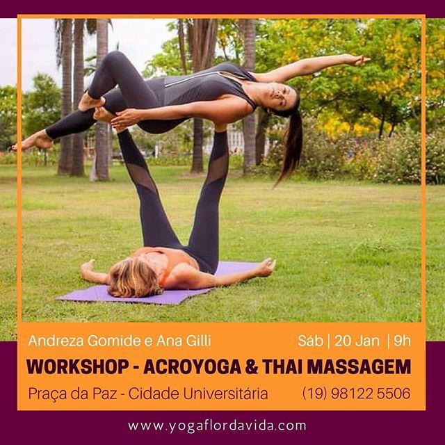 Uma manhã de Verão com AcroYoga e Thai Massagem!  Vamos começar o ano com toda a energia de Cooperação, Integração e Alegria que essa modalidade promove!  Acroyoga é uma prática onde se mescla a alegria e dinamismo das acrobacias, posturas e calma do yoga, cura e carinho da massagem Tailandesa, cuidando sempre para que o exercício seja seguro e divertido.  Venha sozinho ou com sua dupla e sinta a alegria de compartilhar a União em Yoga!  Data: 20 de Jan | das 9h às 12h Local: Praça da Paz - Cidade Universitária, Campinas.  Investimento:  Antecipado - 89,00 individual | 152,00 dupla No dia - 107,00 individual | 170,00 dupla  Prática Facilitada pelas Instrutoras Andreza Gomide @abgomide e Ana Gilli @ana.gilli  Uma atividade oferecida pelo Espaço Yoga Flor da Vida.  Inscrições mediante comprovante de depósito  pelo Whatsapp (19) 98122 5506  Dados Bancários: Santander 033 Agência 0207 Conta Corretnte 01 027 485 2 CPF 325 360 158 74 Ana Maria S G Martins  www.yogaflordavida.com #YogaFlorDaVida #AcroYoga #YogaTerapia