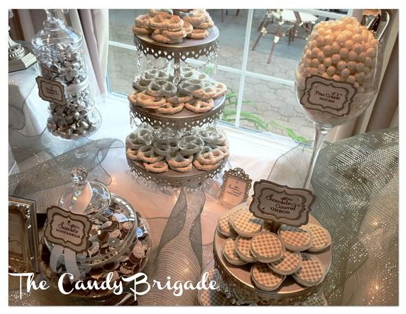 Candy Bar with Silver Opulent Treasures Dessert Stands