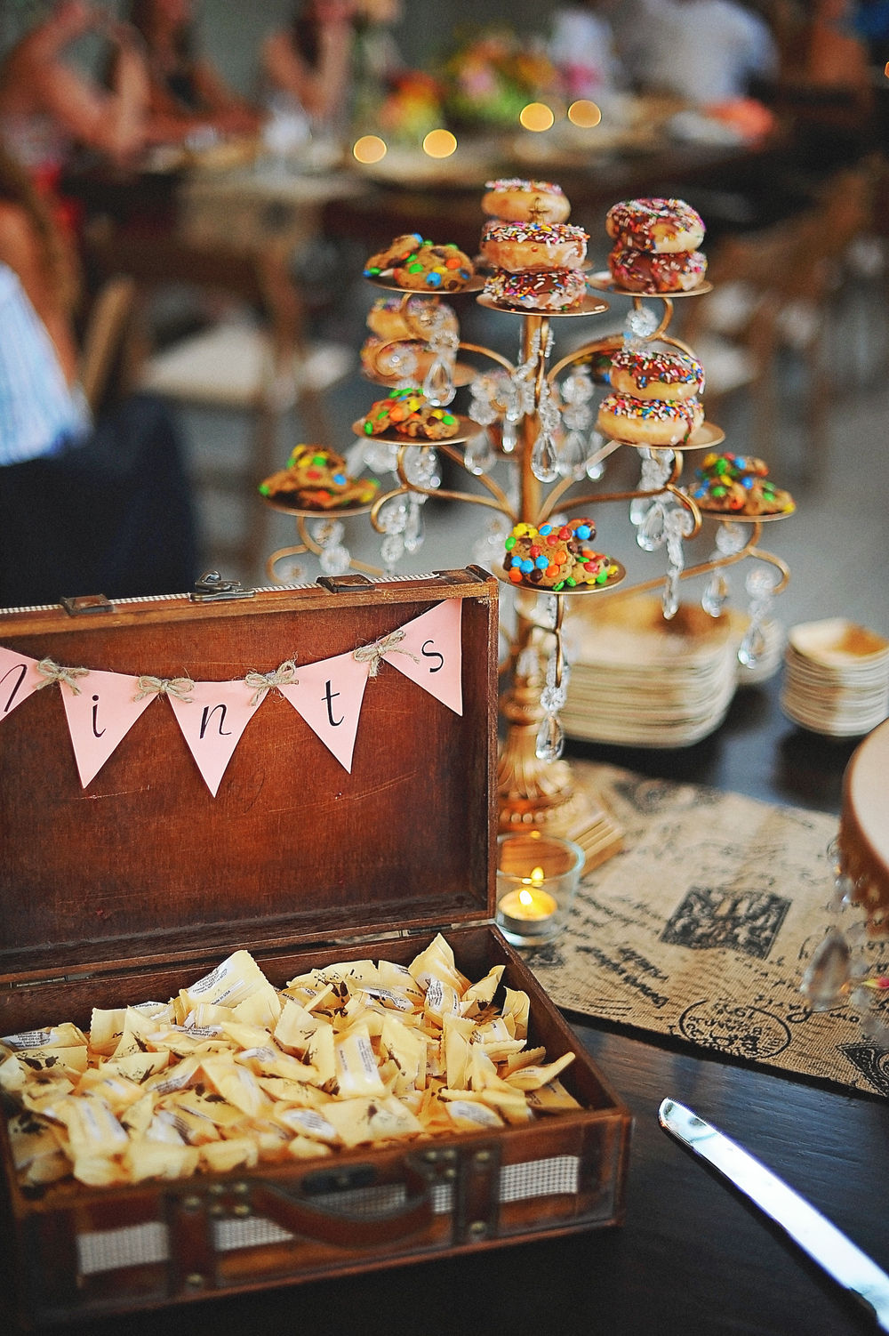 Chandelier Cupcake Stand with Donuts