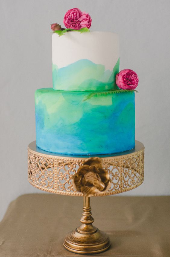 Gold Metal Cake Stand |Opulent Treasures | Hand painted wedding cake