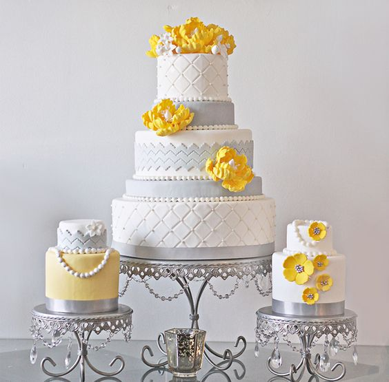 Wedding Cake Ideas | Yellow Floral Accent | Silver Cake Stands