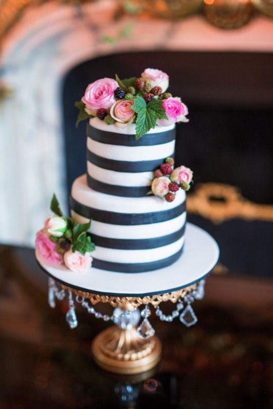 Black & white Striped Tiered Cake | Gold Ball Base Chandelier Cake Stand