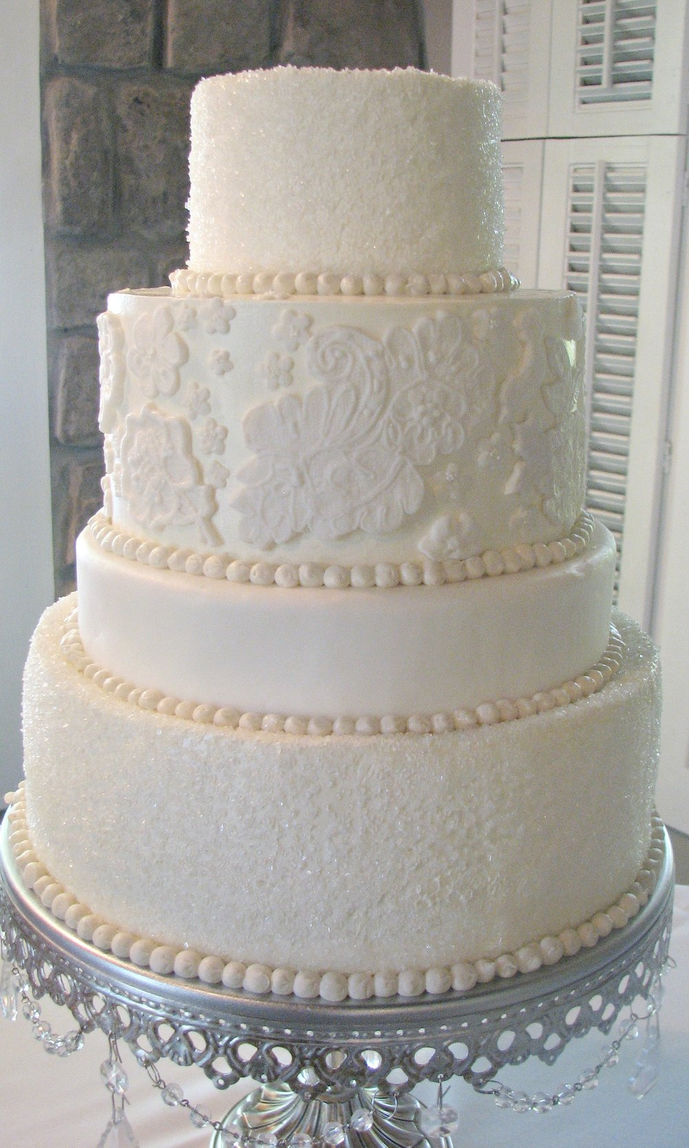 Tiered White Wedding Cake | Silver Cake Stand