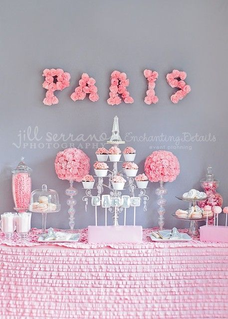 Paris Party Ideas | Pink & White Cupcakestand