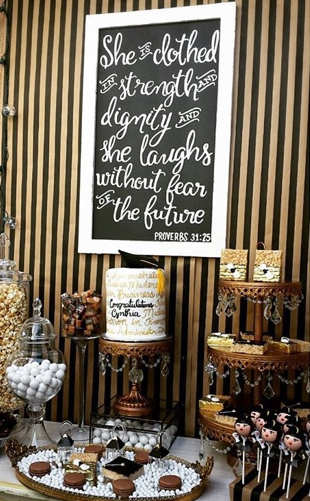 Cake & Candy Table | Black, White & Gold | Framed Quote