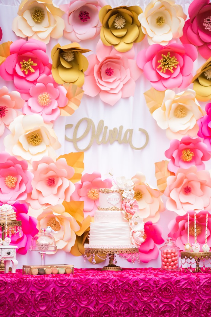 Birthday Cake Table | Pink & Gold Paper Flowers