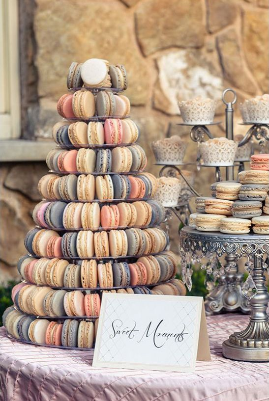 Pastel Macarons & Silver Dessert Stands