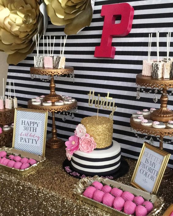 Pink, Black & Gold Party Ideas | Gold Chandelier Cake Stands