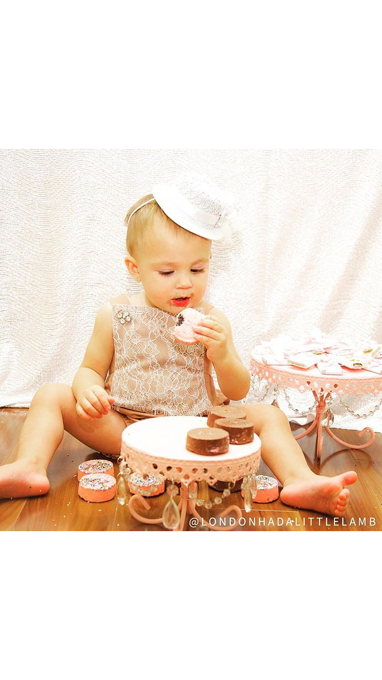 Cute Baby Girl & Pink Chandelier Loopy Cake Plates
