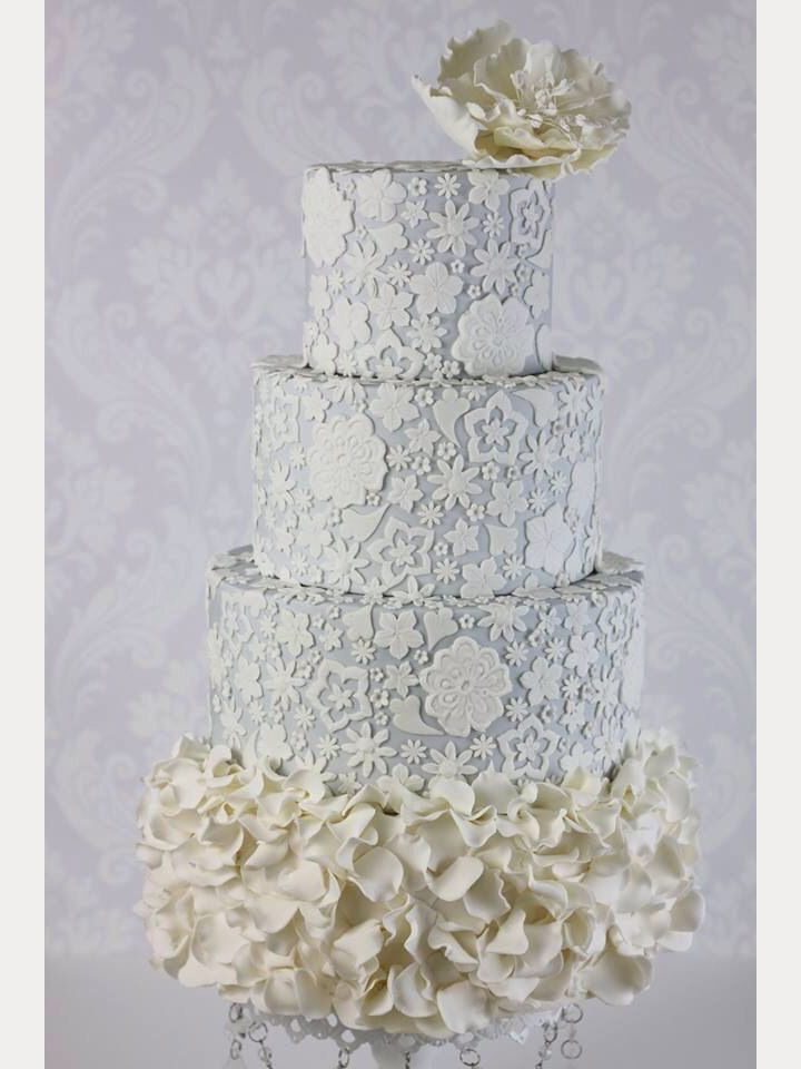 White Wedding Cake with Ruffled Frosting & Lace Details