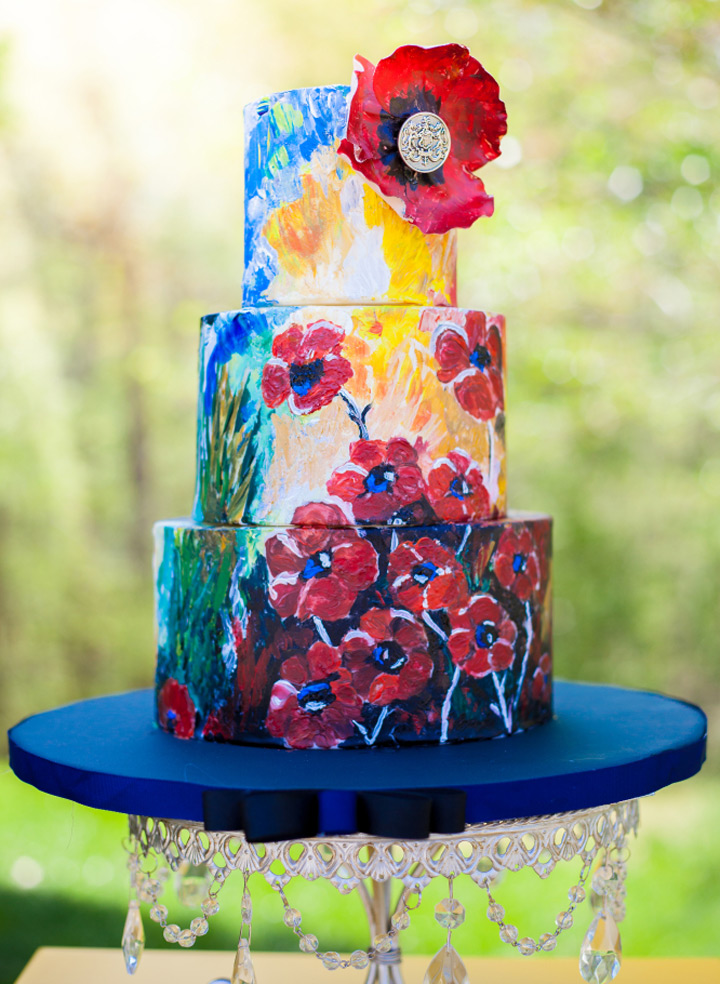 Hand Painted Floral Cake | Chandelier Cake Stand