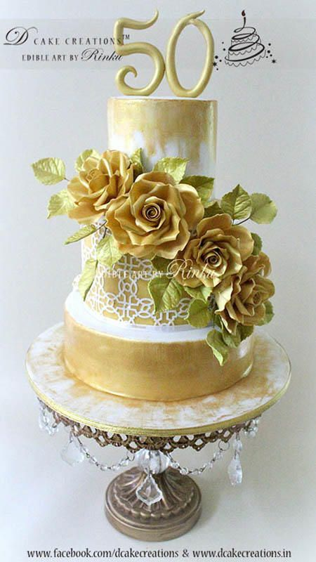 50th Wedding Anniversary | Gold Chandelier Cake Stand