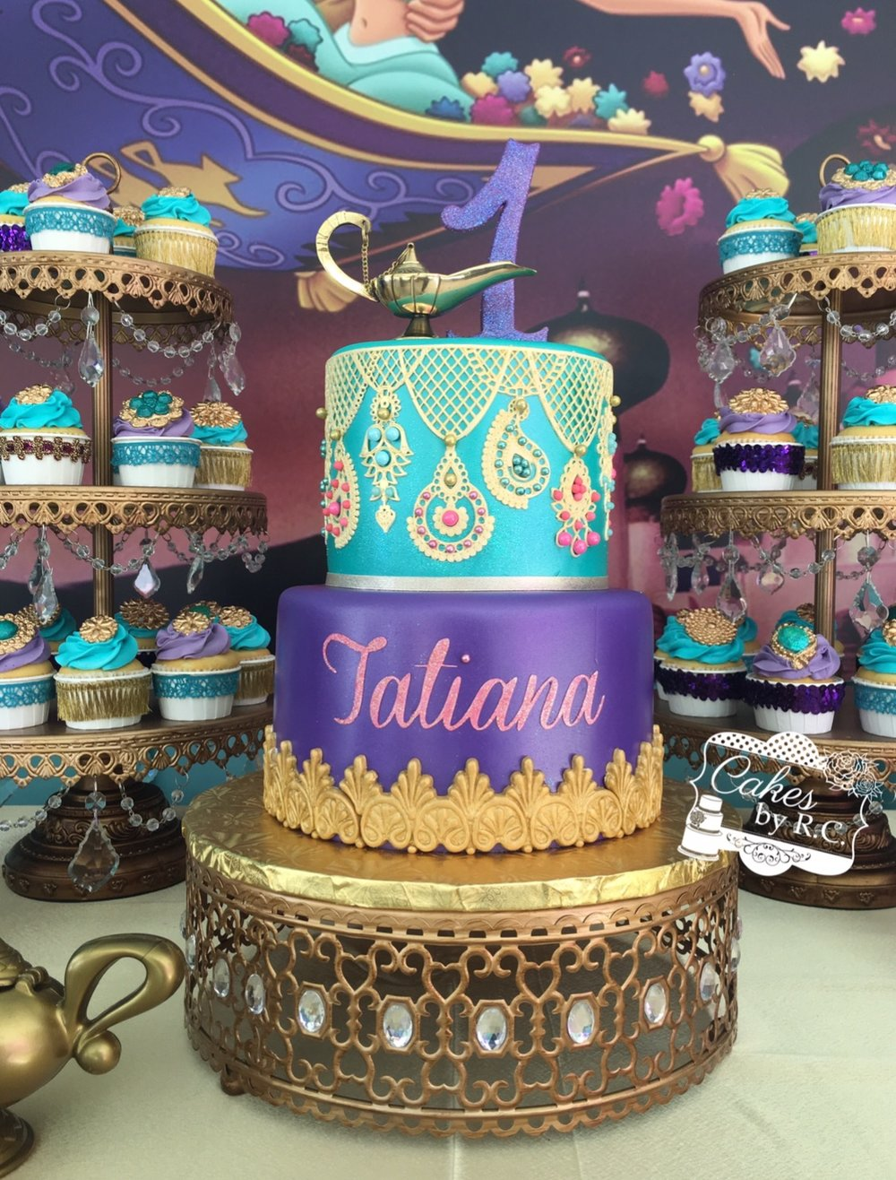 Gold Moroccan Jeweled Cake Stand & Tiered Dessert Stands by Opulent Treasures