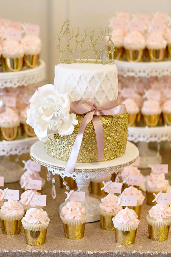 White Chandelier Cake Stand by Opulent Treasures | Pink & Gold Cupcakes