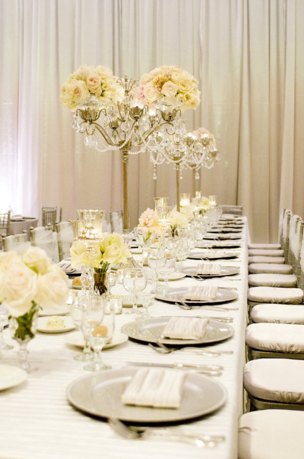 Casablanca Taper Tall Candelabra with flowers |Opulent Treasures | Table decor for Weddings & Special Events