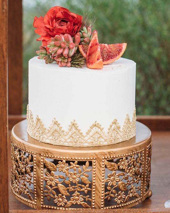 Wedding cake by The Love Cakes | Gold Cherry Blossom Cake Stand | Photo by Nicole Reeves Photography