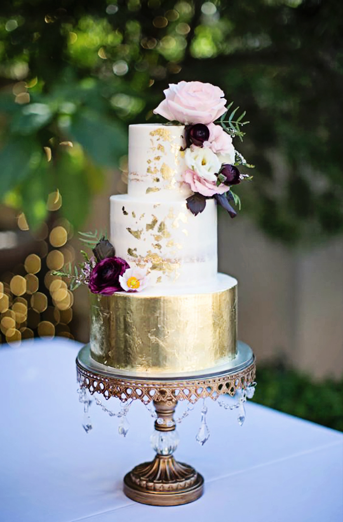 wedding cake gold foil cake tower stand.jpg