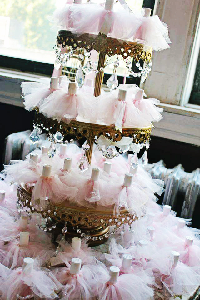 Ballerina Party Favors... Nail Polish & Tutus!!  Chandelier 3 Tiered Dessert Stand in Antique Gold ~ SHOP here!