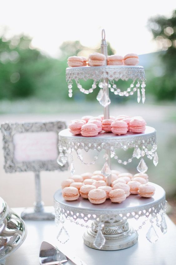 Pretty Pink Macarons on   Chandelier 3 Tiered Dessert Stand in Antique Silver ~ SHOP here!