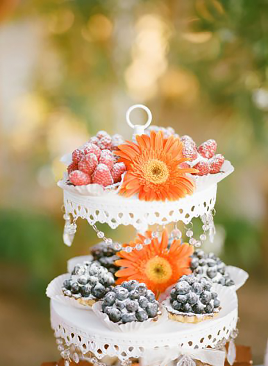 Mini desserts & fresh florals!    Chandelier 3 Tiered Dessert Stand in White ~ SHOP here!