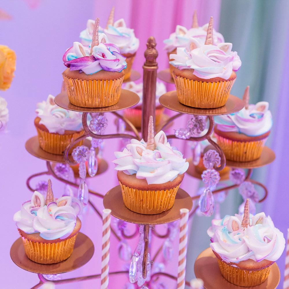 unicorn cupcakes-gold-chandelier-cupcake stand-opulent-treasures.jpg