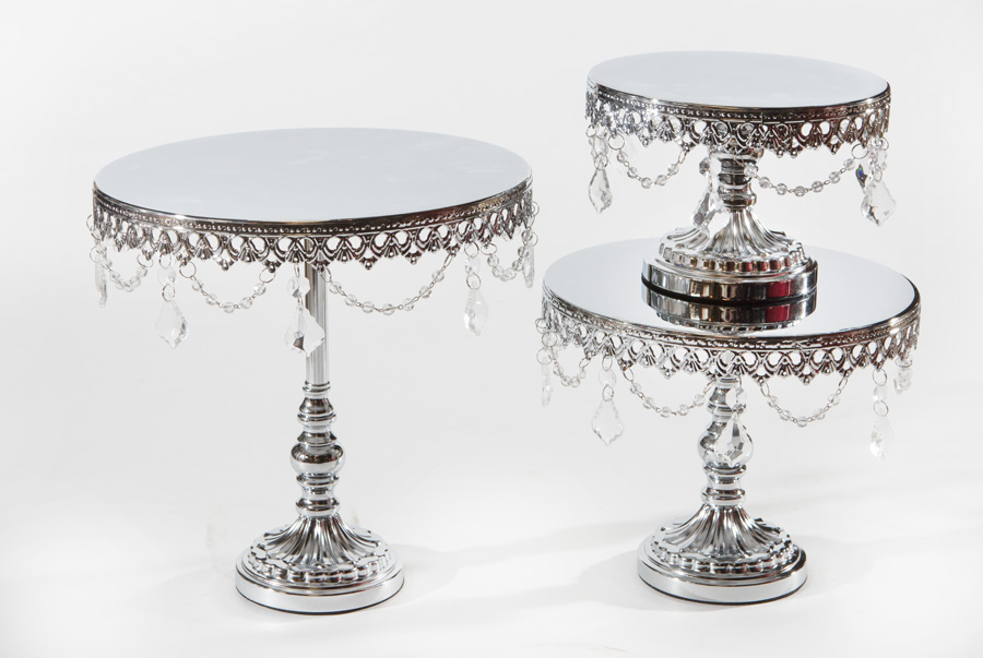 Shiny Silver Chandelier Round Cake Stand