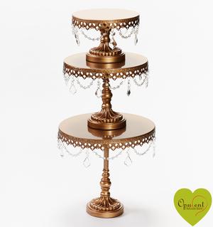 Antique Gold Chandelier Round Cake Stand