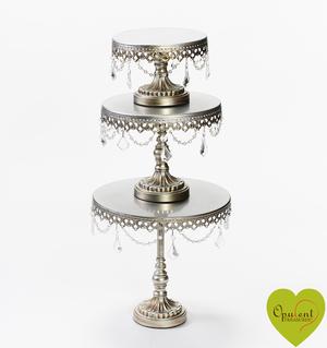 Antique Silver Chandelier Round Cake Stand