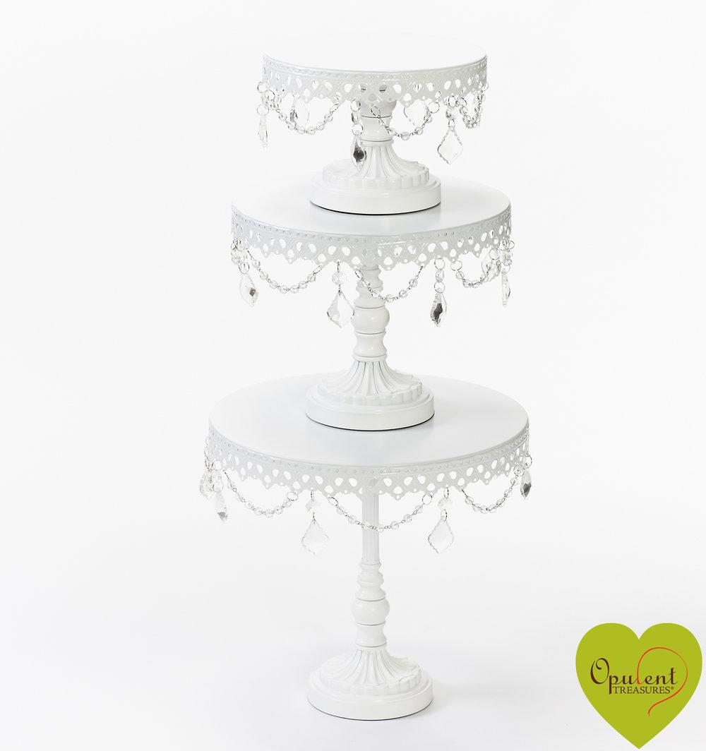 White Chandelier Round Cake Stands