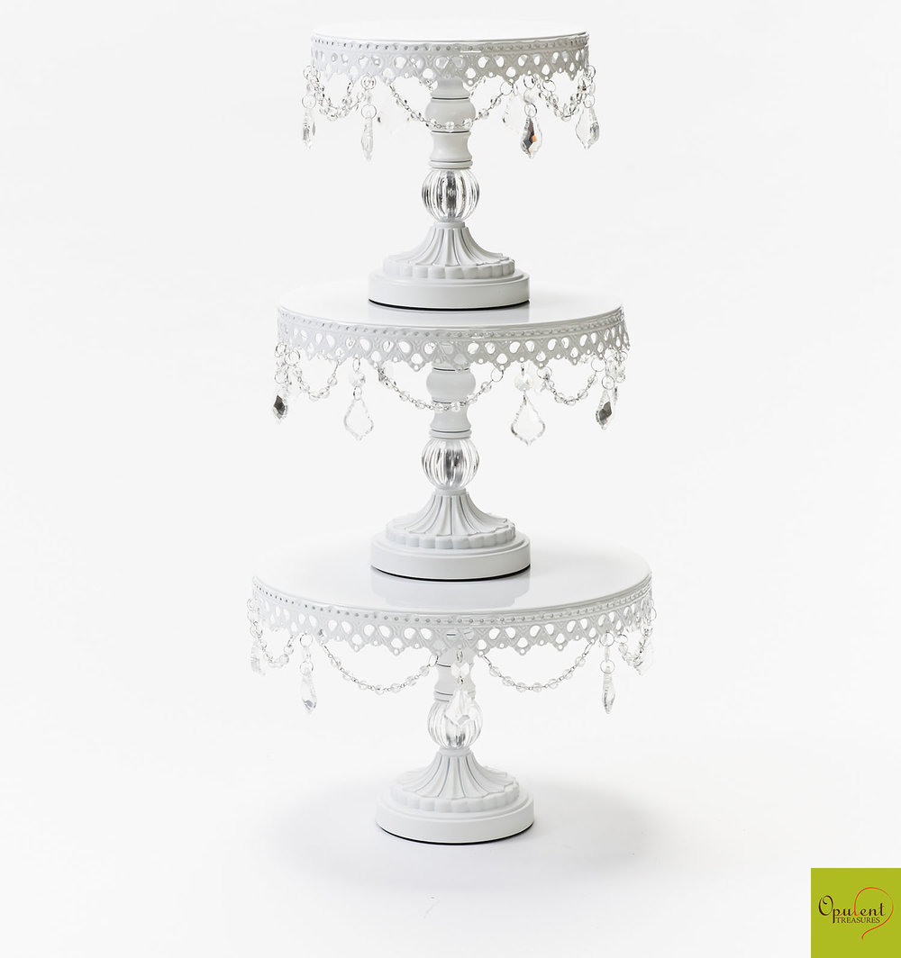 White Chandelier Ball Base Cake Stand