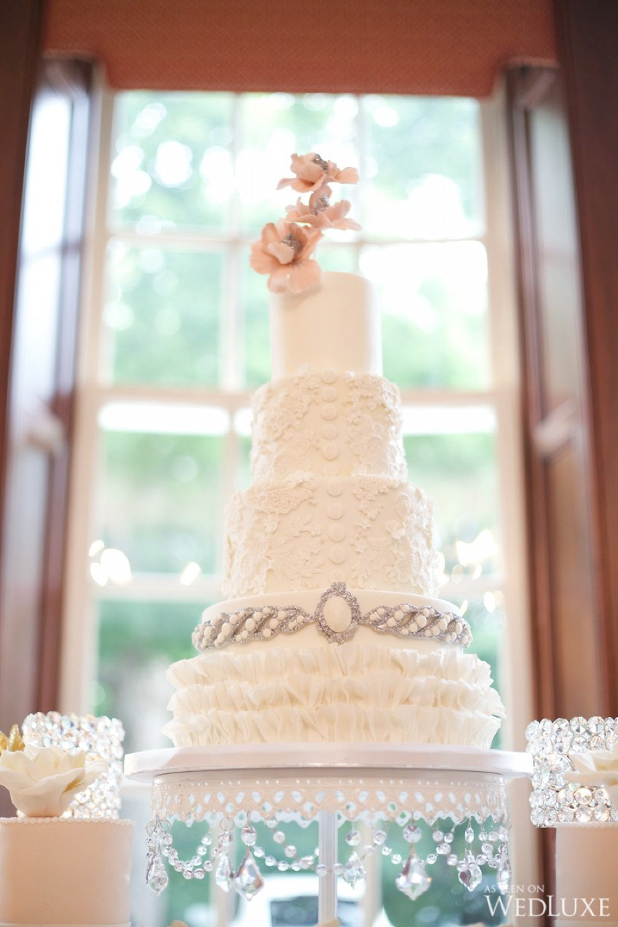 Tiered White Wedding Cake by  Truffle Cake & Pastry  Photo:  Hoyin Siu Photography Studio