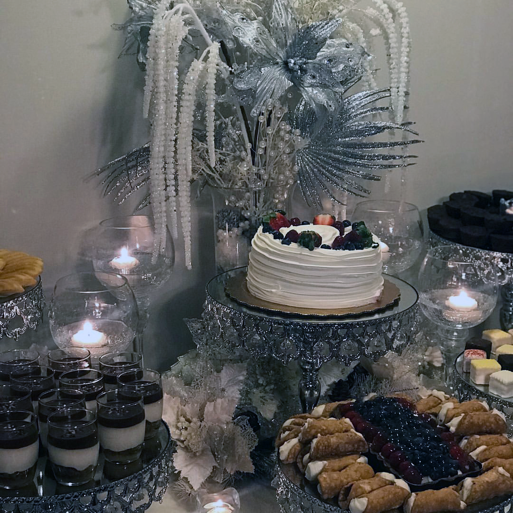 Shiny Silver Crown Cake Stand on Wedding Dessert Table  Wedding Planner: Taylor Event Design