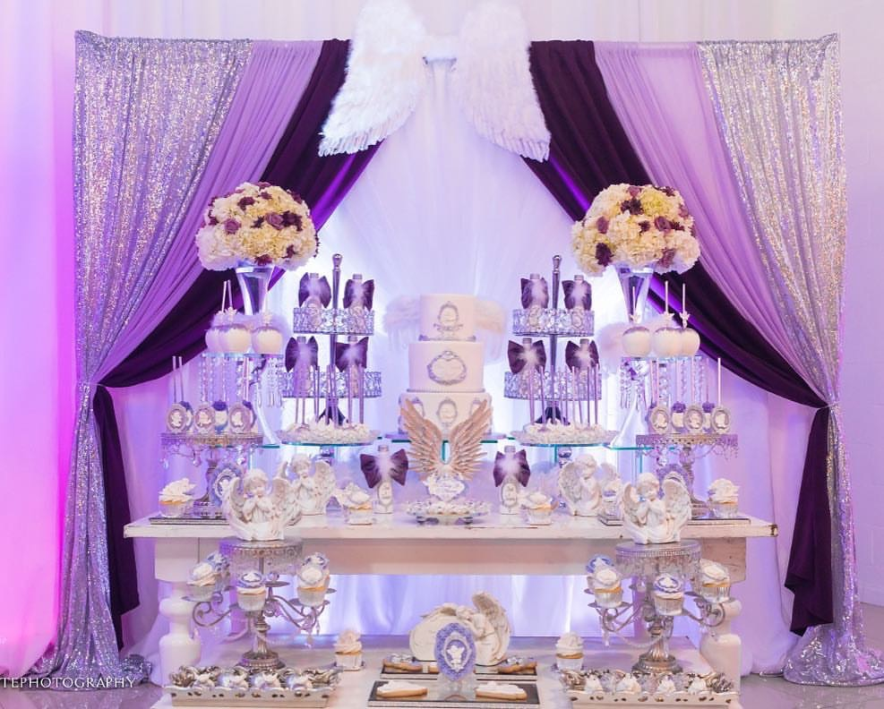 heaven sent baby shower dessert table graces events Silver Bling cake stands opulent treasures angel .jpg