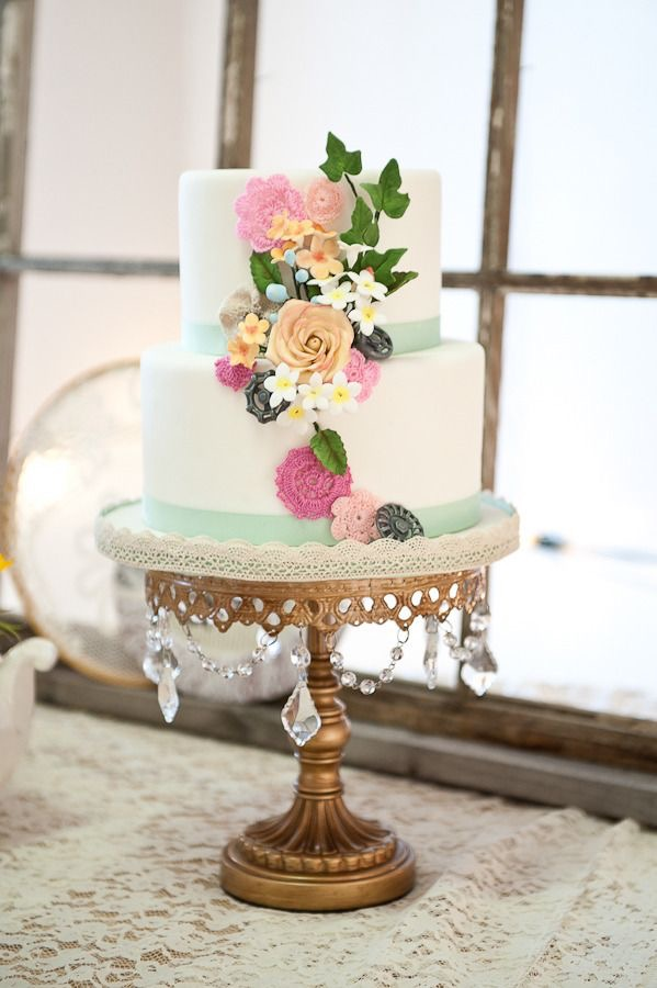 wedding cake spring colors gold cake stand.jpg
