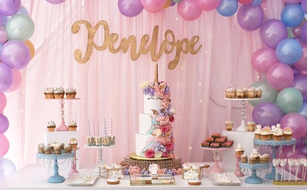 Unicorn Party Dessert Table pink blue white cake stands by Opulent Treasures.jpg