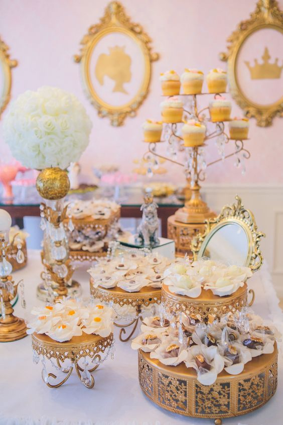 princess birthday - gold cake stands by opulent treasures.jpg