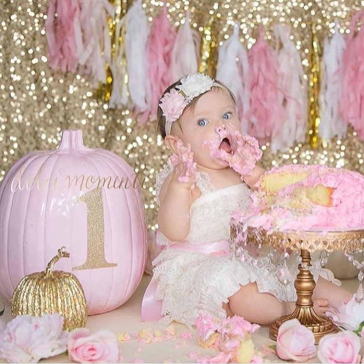 pink gold smash cake baby girl antique gold chandelier cake stand.jpg