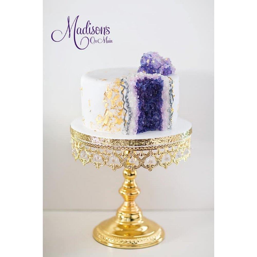 Geode Cake by Madisons on Main Shiny Gold Cake stand by Opulent Treasures.jpg